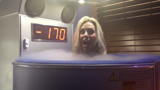 Wendie doing cryotherapy
